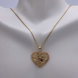 Jewelry - 14K Solid Gold Caged Heart Pendant And Chain